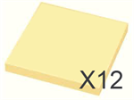 "12 x Gul ""post-it"" 75 x 75 mm"