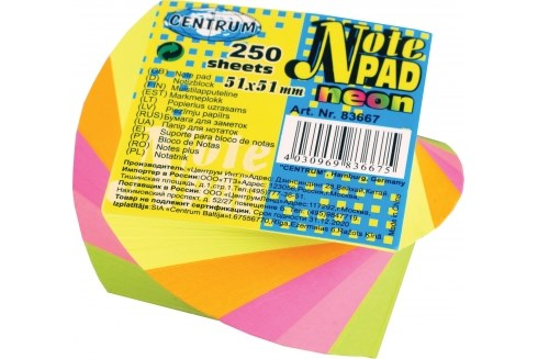 Note pad 5 farver 51x51mm  250 ark